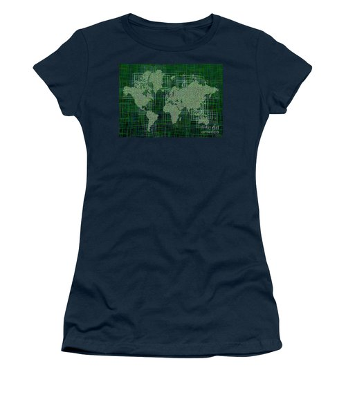 World Map Rettangoli In Green And White Women's T-Shirt (Junior Cut) by Eleven Corners