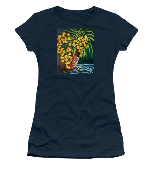 Women's T-Shirt (Junior Cut) featuring the painting Yellow Cascade by Katherine Young-Beck