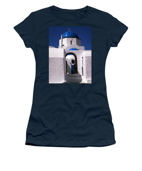 Women's T-Shirt (Junior Cut) featuring the photograph Santorini Church Greece by Colette V Hera  Guggenheim