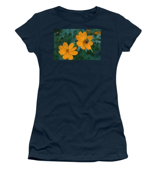 Women's T-Shirt (Junior Cut) featuring the photograph Bee On Cosmos Flower  by Tom Wurl