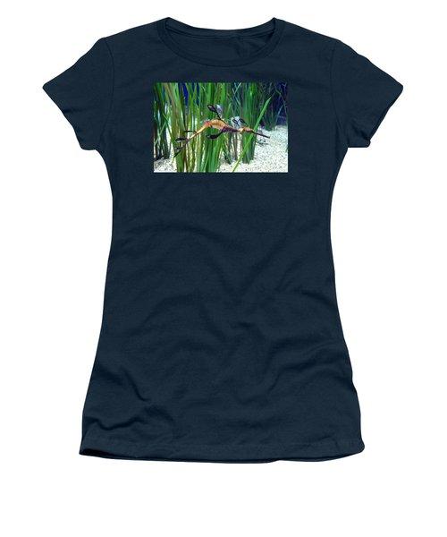 Black Dragon Seahorse Women's T-Shirt (Junior Cut) by Carla Parris
