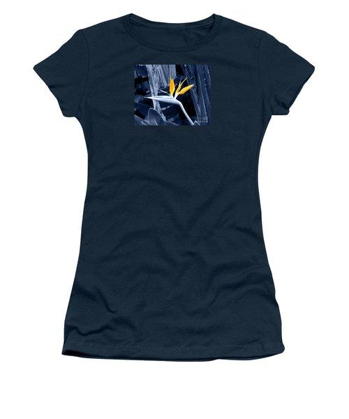 Blue Bird Of Paradise Women's T-Shirt (Junior Cut) by Rebecca Margraf