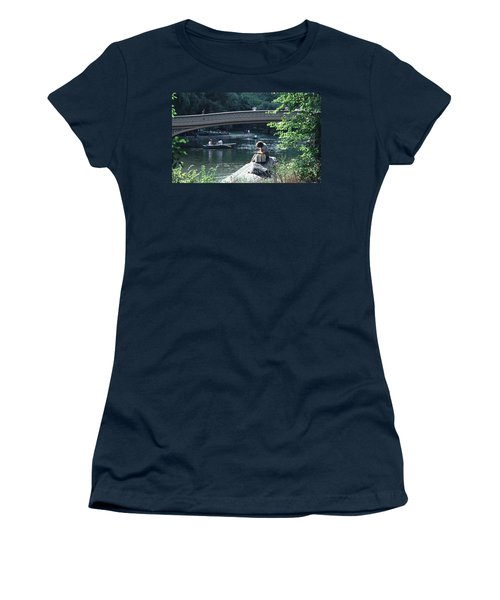 Bow Bridge In Central Park Nyc Women's T-Shirt (Junior Cut) by Tom Wurl