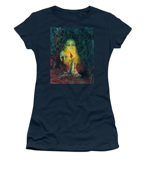 Candle Light Mother Child Faces In Yellow Candle Light Blue Red Background  Women's T-Shirt (Athletic Fit)
