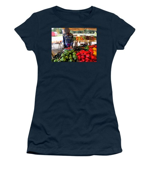 Colorful Fruit And Veggie Stand Women's T-Shirt (Junior Cut) by Kym Backland