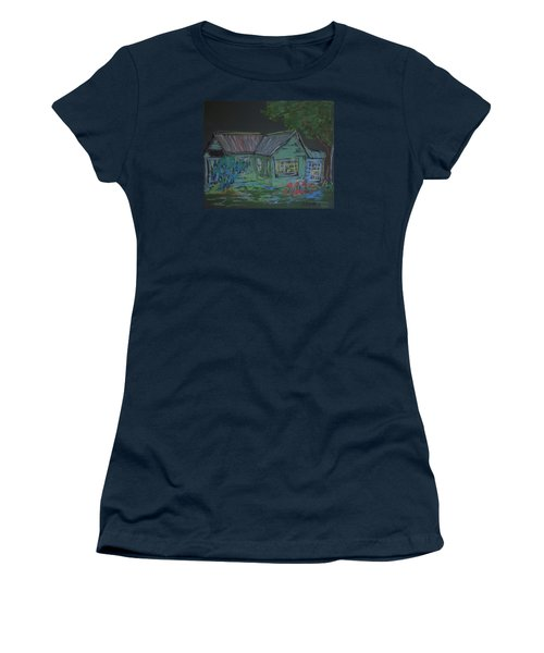 Women's T-Shirt (Junior Cut) featuring the painting Gabby's House by Francine Frank