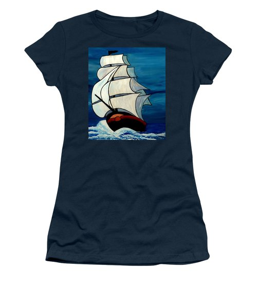 Women's T-Shirt featuring the painting High Sea by Cynthia Amaral