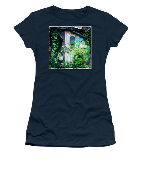 Women's T-Shirt (Junior Cut) featuring the photograph License Plate Wall by Nina Prommer