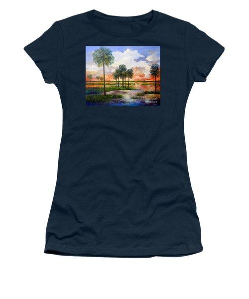 Women's T-Shirt (Junior Cut) featuring the painting Myakka Sunset by Lou Ann Bagnall