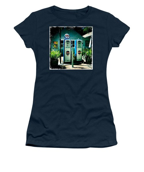 Women's T-Shirt (Junior Cut) featuring the photograph Old Fashioned Gas Station by Nina Prommer