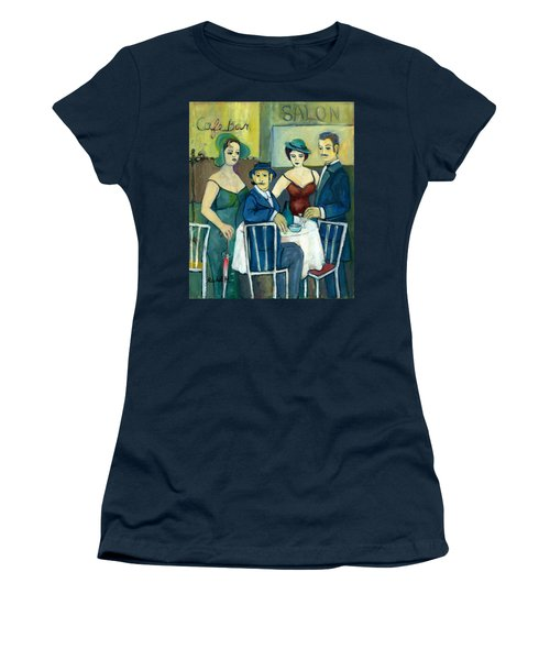 Parisian Cafe Scene In Blue Green And Brown Women's T-Shirt (Athletic Fit)