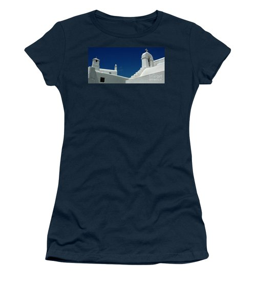 Women's T-Shirt (Junior Cut) featuring the photograph Rooftops Of Mykonos by Vivian Christopher