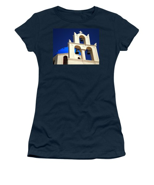 Women's T-Shirt (Junior Cut) featuring the photograph santorini Church Greee by Colette V Hera  Guggenheim