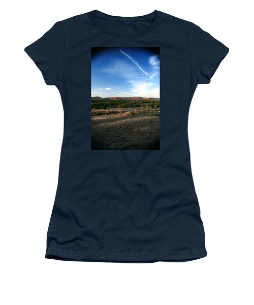 Women's T-Shirt (Junior Cut) featuring the photograph Somewhere Off The Interstate In New Mexico by Lon Casler Bixby