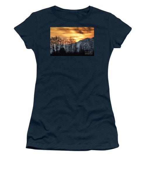 Trees With Orange Sky Women's T-Shirt
