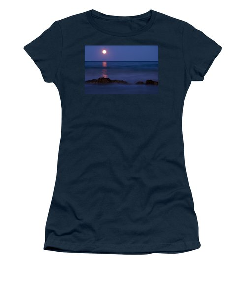 Wells Beach Maine Moonrise Women's T-Shirt (Athletic Fit)
