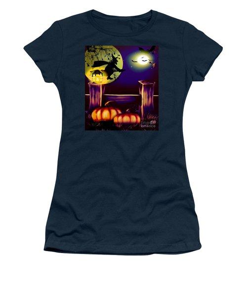 Halloween Witches Moon Bats And Pumpkins Women's T-Shirt (Junior Cut) by Annie Zeno