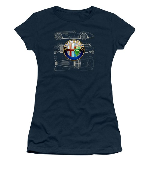 Alfa Romeo 3 D Badge Over 1938 Alfa Romeo 8 C 2900 B Vintage Blueprint Women's T-Shirt