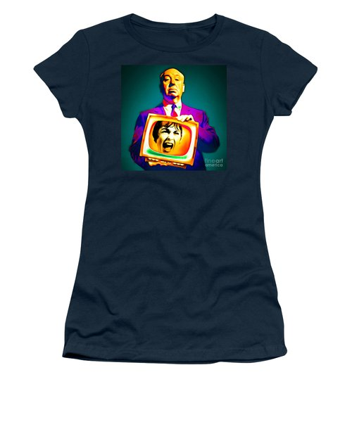 Women's T-Shirt featuring the photograph Alfred Hitchcock Psycho 20151218v3 Square by Wingsdomain Art and Photography