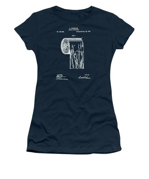 Antique Toilet Paper Roll Blueprint Patent Illustration  Women's T-Shirt