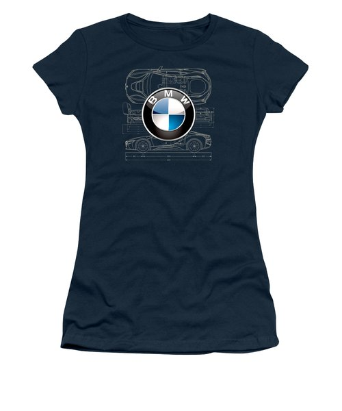 B M W 3 D Badge Over B M W I8 Blueprint  Women's T-Shirt (Athletic Fit)