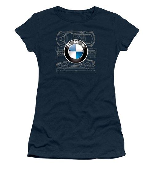 B M W 3 D Badge Over B M W I8 Blueprint  Women's T-Shirt (Junior Cut)