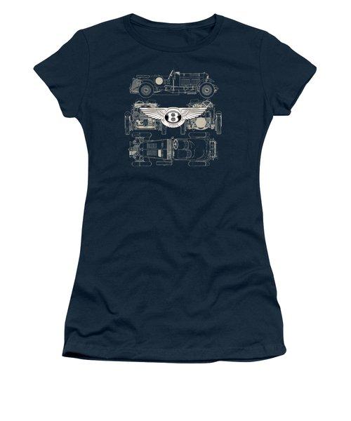 Bentley - 3 D Badge Over 1930 Bentley 4.5 Liter Blower Vintage Blueprint Women's T-Shirt