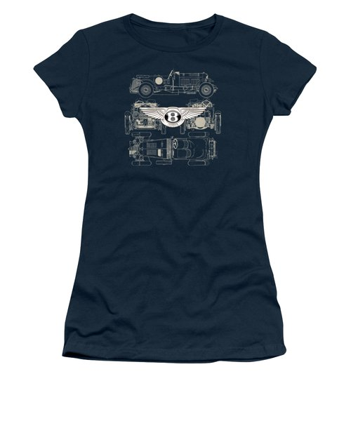 Bentley - 3 D Badge Over 1930 Bentley 4.5 Liter Blower Vintage Blueprint Women's T-Shirt (Athletic Fit)