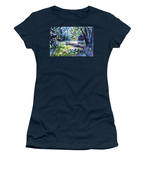Women's T-Shirt (Junior Cut) featuring the painting Boat by Kovacs Anna Brigitta