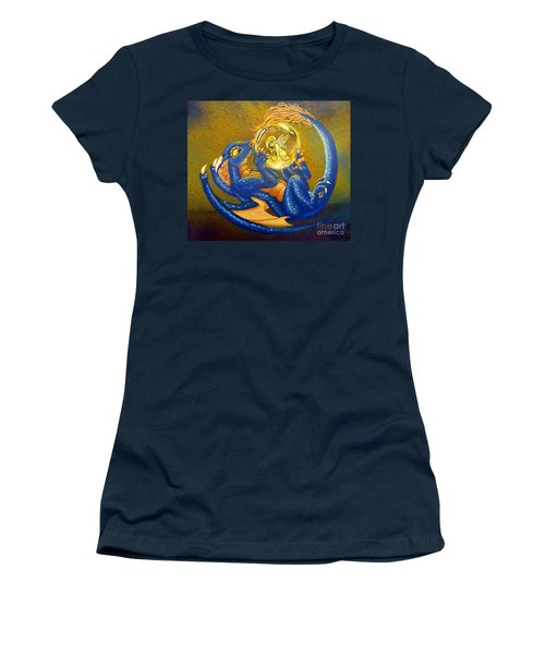 Women's T-Shirt featuring the painting Dragon And Captured Fairy by Mary Hoy