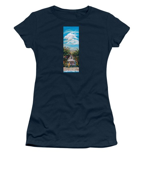 Women's T-Shirt (Junior Cut) featuring the painting Island Bungalow by Linda Olsen