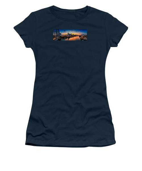Nashville Skyline Panorama Women's T-Shirt (Junior Cut) by Brett Engle