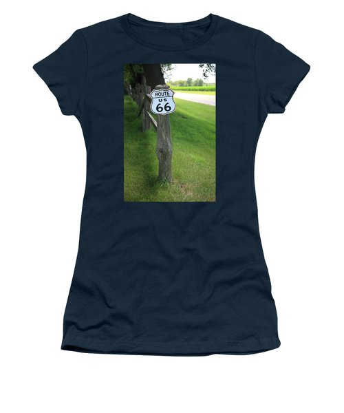 Women's T-Shirt (Junior Cut) featuring the photograph Route 66 Shield And Fence Post by Frank Romeo
