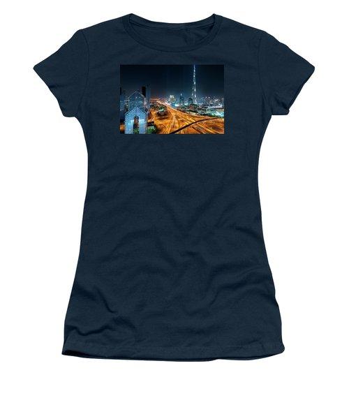 Amazing Night Dubai Downtown Skyline, Dubai, United Arab Emirates Women's T-Shirt (Athletic Fit)