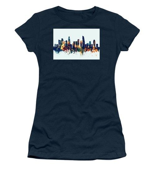 Los Angeles California Skyline Women's T-Shirt (Junior Cut) by Michael Tompsett