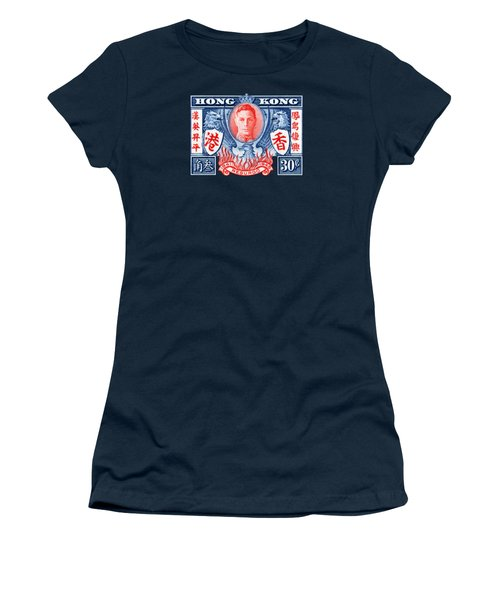 1945 Hong Kong Victory Stamp Women's T-Shirt (Junior Cut) by Historic Image
