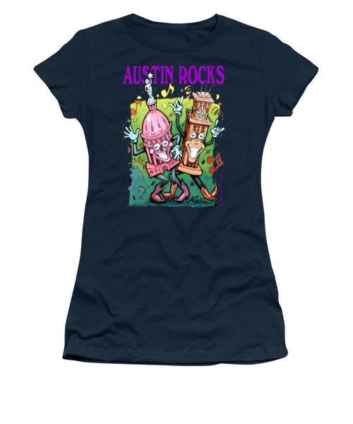 Austin Texas Cartoon Map Women's T-Shirt (Athletic Fit)
