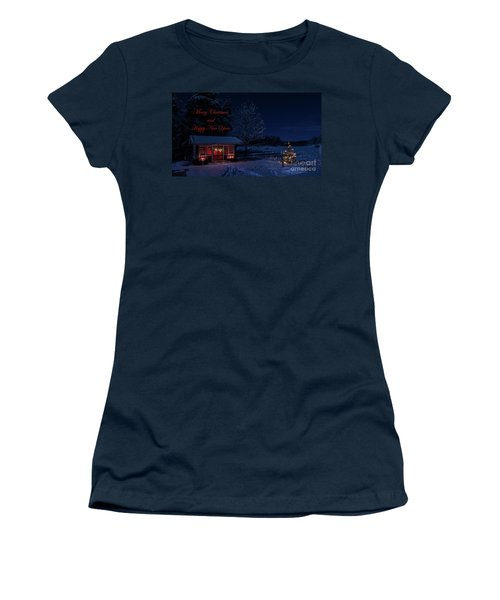 Women's T-Shirt (Junior Cut) featuring the photograph Winter Night Greetings In English by Torbjorn Swenelius