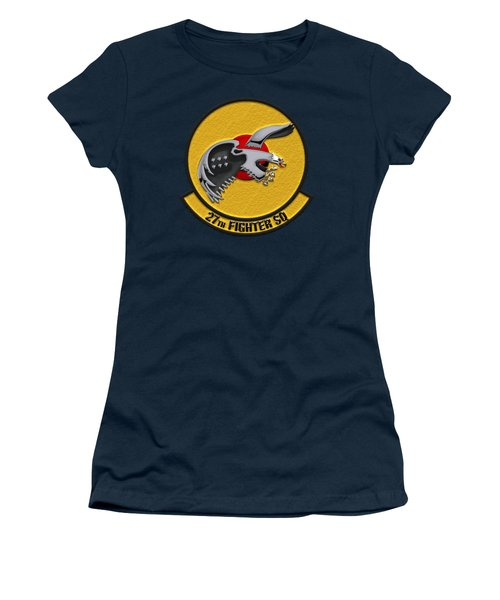 27th Fighter Squadron - 27 Fs Over Blue Velvet Women's T-Shirt (Athletic Fit)