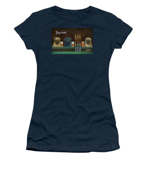 Pug Crawl... Women's T-Shirt (Athletic Fit)
