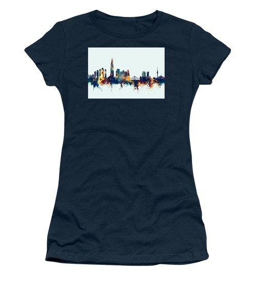 Women's T-Shirt (Junior Cut) featuring the digital art Seoul Skyline South Korea by Michael Tompsett