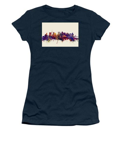 Tokyo Japan Skyline Women's T-Shirt (Junior Cut) by Michael Tompsett
