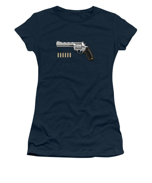 .44 Magnum Colt Anaconda With Ammo On Blue Velvet  Women's T-Shirt
