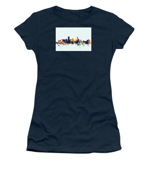 Miami Florida Skyline Women's T-Shirt (Junior Cut) by Michael Tompsett