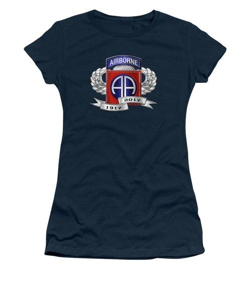 82nd Airborne Division 100th Anniversary Insignia Over Blue Velvet Women's T-Shirt