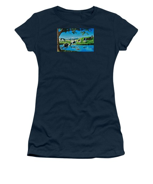 A Black And White Field Women's T-Shirt (Athletic Fit)