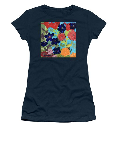 Women's T-Shirt (Athletic Fit) featuring the painting A Dandelion Weed Making It's Way In The Garden by Robin Maria Pedrero