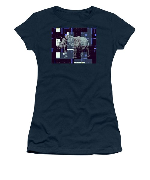 Women's T-Shirt (Athletic Fit) featuring the digital art A Geometric Rhinoceros. by Anthony Murphy