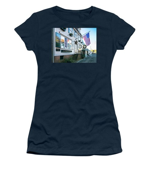 Women's T-Shirt (Junior Cut) featuring the photograph A Newport Wharf by Nancy De Flon