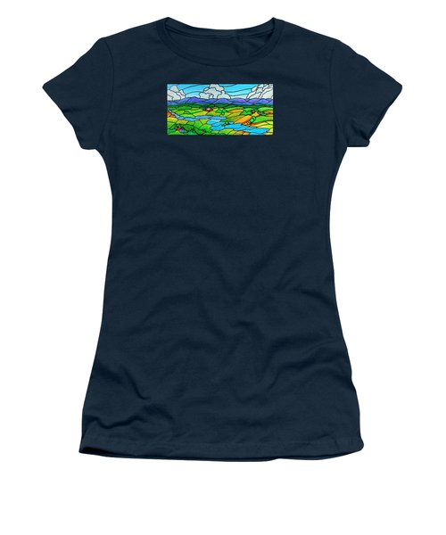 A River Runs Through It Women's T-Shirt (Junior Cut) by Jim Harris